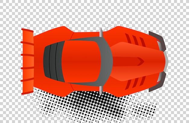 赤いスポーツカートップビューベクトルイラスト。