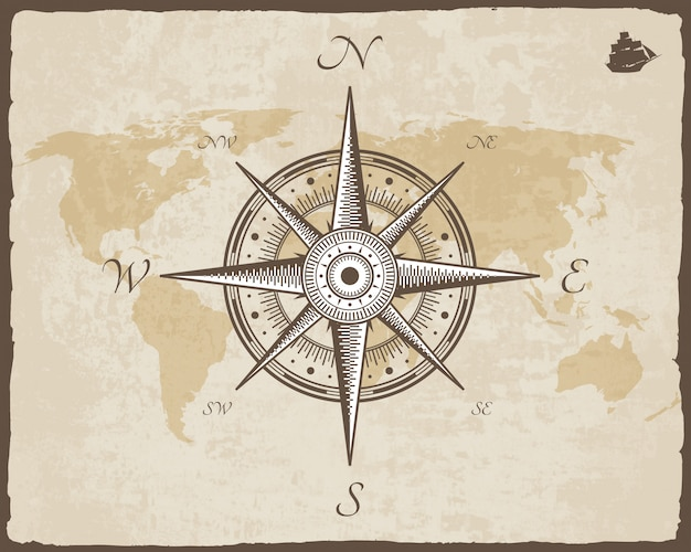 Старинный морской компас. старая карта вектор текстуры бумаги с рваной рамки. роза ветров