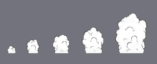 煙爆発アニメーション。煙のアニメーション。爆発アニメーション