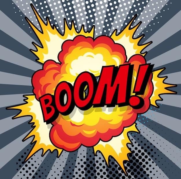 Мультяшный, взрыв взрыва, комический речевой пузырь. страница комиксов