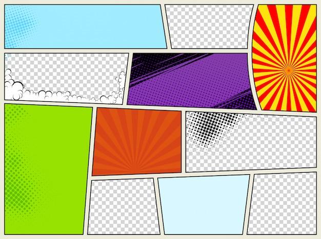 放射状のハーフトーン効果とポップアートスタイルの光線を持つコミックページテンプレート。カラフルな空の背景。