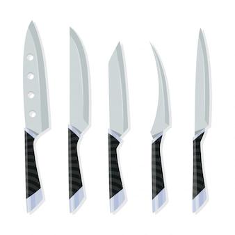 Различные виды ножей для поваров, значок ножа для мясной лавки. набор мясных мясных ножей.