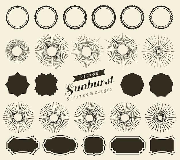 あなたのデザインのビンテージサンバーストバッジとフレームのセット。トレンディな手には、レトロなバースト光線デザイン要素が描画されます。幾何学的なラベル