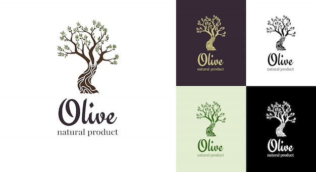 Элегантный оливковое дерево изолированных значок. концепция дизайна логотипа дерева. оливковое дерево силуэт иллюстрации. натуральное оливковое масло с изображением дерева