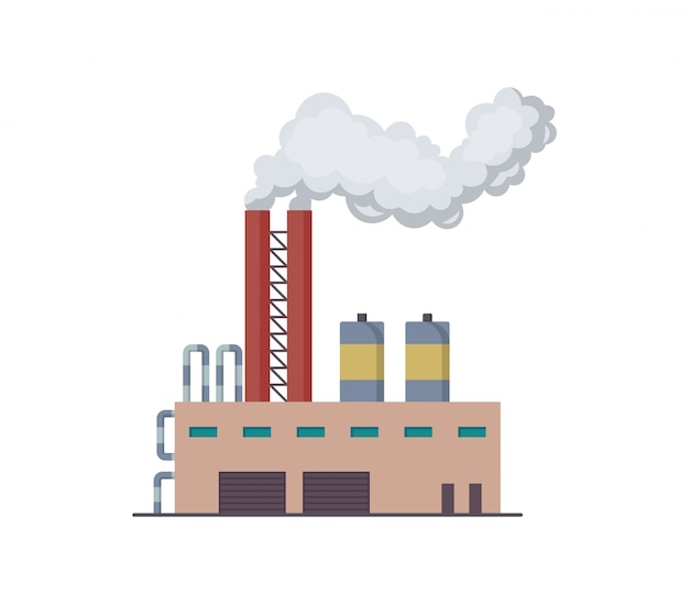 ファクトリーまたは発電所のイラストのフラットなデザイン。製造業の工業ビルの精製工場または原子力発電所。パイプスモークでプラントまたは工場の大きな建物を建てる