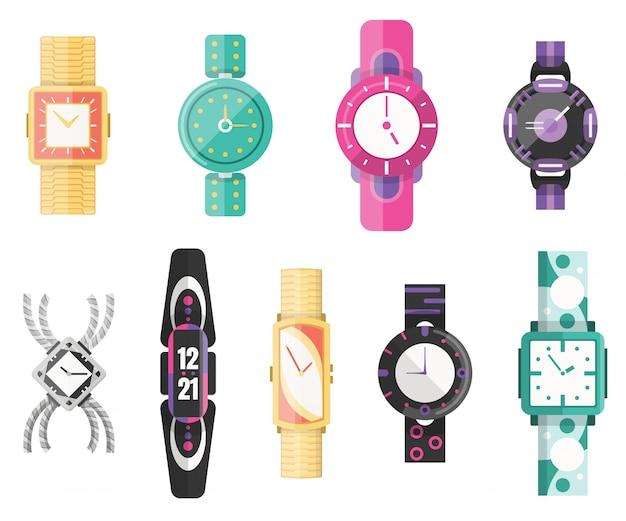 古典的な男性と女性の時計、アイコンのセット。ビジネスマン、スマートウォッチ、ファッション時計のコレクションをご覧ください。ブレスレットとフラットスタイルのイラスト
