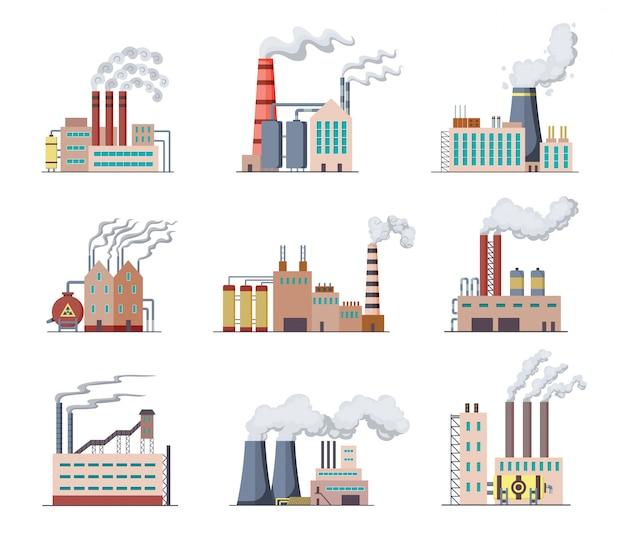 Набор заводов и электростанций плоский дизайн иллюстрации. мануфактура промышленных зданий, нефтеперерабатывающий завод или аэс. строительство больших заводов или заводов с трубным дымом