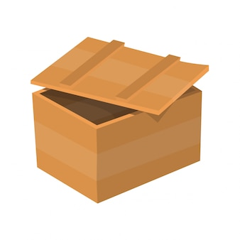木製の引き出し。ボックスパッケージ。配送または発送用のコンテナ。白い背景で隔離の図