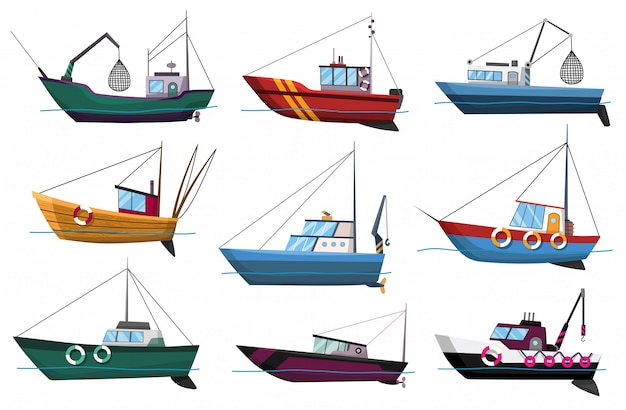 Собрание взгляда со стороны рыбацких лодок изолированное на белой предпосылке. коммерческие рыболовные траулеры для промышленного производства морепродуктов иллюстрации. морская рыбалка, корабли морской промышленности, рыбные катера