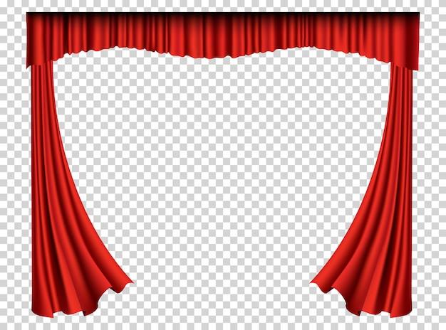 Красные шторы реалистичные. театральные шелковые украшения для кинотеатра или оперного зала. шторы и драпировки интерьера. изолированные на прозрачной для театральной сцены