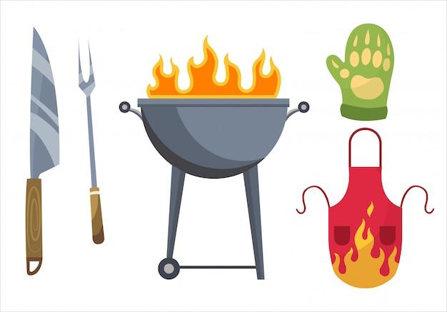 バーベキューのアイコン。グリルの要素のセット。バーベキューグリルの場所、手袋、フォーク、ナイフ、エプロン。家族でのパーティーの準備は万端