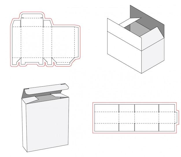 シンプルなボックス包装の型抜きテンプレートデザイン