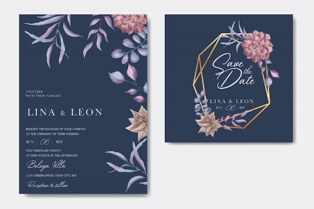 Романтическое свадебное приглашение с цветочным орнаментом и золотой рамкой