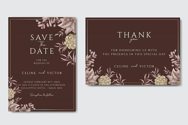 Свадебная пригласительная открытка с цветочным орнаментом и золотой раме