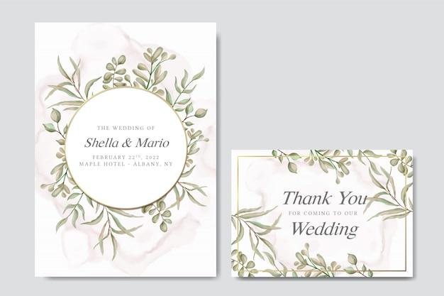 Зелёная свадебная пригласительная открытка с эвкалиптовыми листьями и золотой рамкой