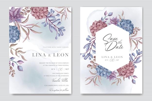 花のジューシーな背景を持つ美しい結婚式の招待カードテンプレート