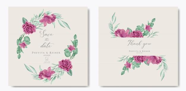 Романтическое свадебное приглашение с розовым цветочным фоном