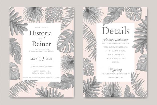 ヴィンテージ夏の熱帯の葉の結婚式の招待カードテンプレートの背景