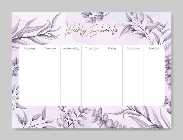 美しい手描きの花の背景を持つ毎週のスケジュール