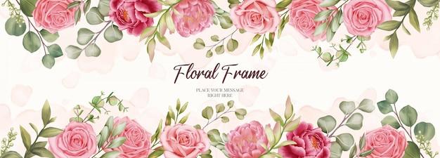花のフレームの背景を持つ結婚式招待状の美しいバナー