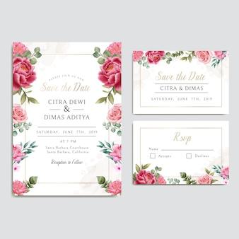 花の飾りとゴールドフレームの結婚式の招待状