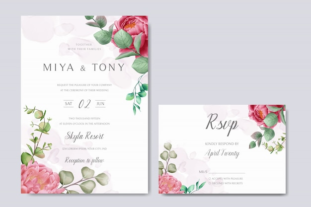 Красивая цветочная рамка для свадебного приглашения