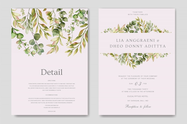 Зелёное свадебное приглашение с эвкалиптовыми листьями