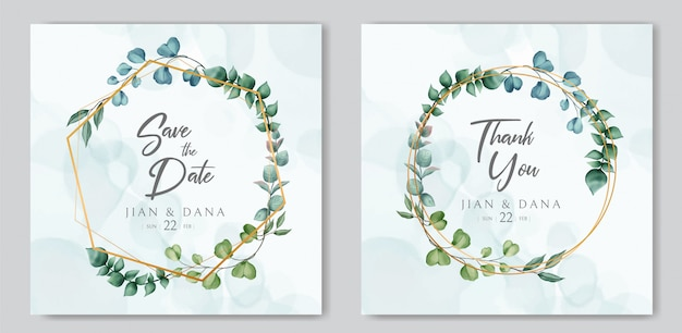 Шаблон свадебного приглашения и сохранить дату карты с акварелью цветочные на золотой раме