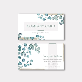 名刺や水彩画の葉を持つ会社カード