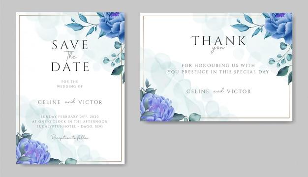 青い花飾りとゴールドフレームの結婚式の招待状