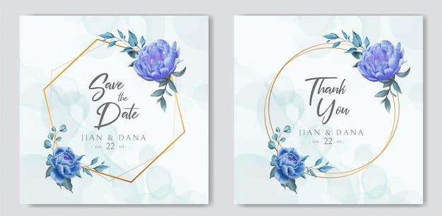 Деревенское свадебное приглашение с цветочным орнаментом и золотой рамкой