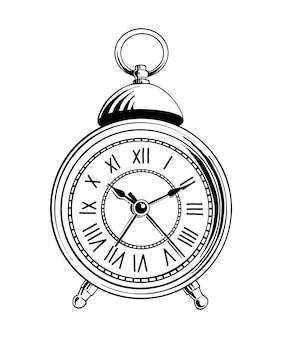 Ручной обращается эскиз будильника