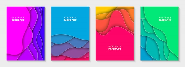 鮮やかな色の縦のチラシが紙をカットします。