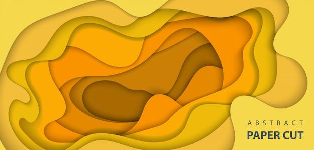 黄色とオレンジ色の紙のカットと背景
