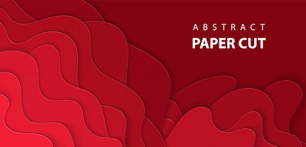 深い赤色紙のカットとベクトルの背景