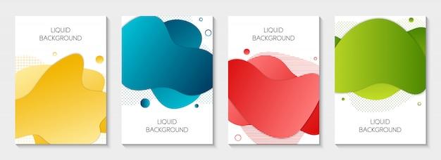 抽象的な現代グラフィック液体バナーのセット
