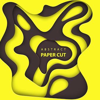 抽象的な黒と黄色の紙カット背景