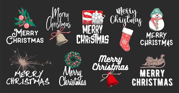 Нарисованный набросок набора рождественских и новогодних праздников