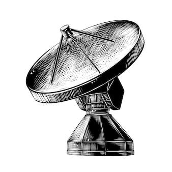 衛星アンテナの手描きのスケッチ