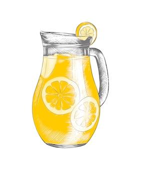 Ручной обращается эскиз лимонада в кувшине