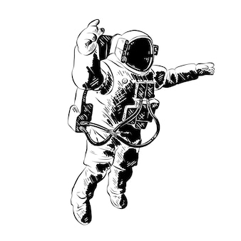 Ручной обращается эскиз космонавта в черном