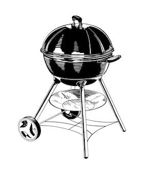 Ручной обращается эскиз барбекю в черном