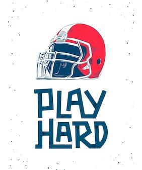 赤いアメリカンフットボールのヘルメット、レタリングのスケッチ