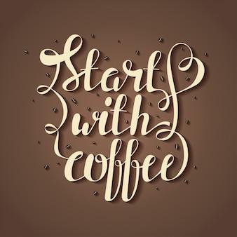 Надпись с кофе в зернах и цитата