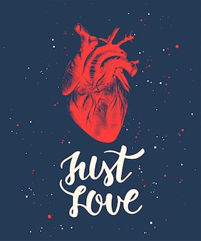 刻まれた解剖学的心のスケッチとの愛だけ