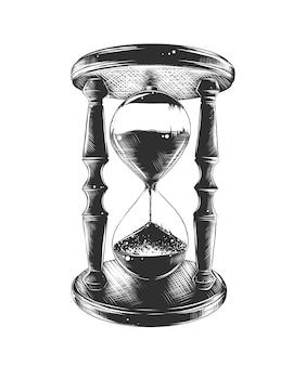 Ручной обращается эскиз песочных часов в монохромном режиме