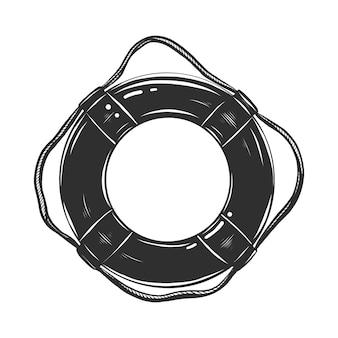 モノクロの救命浮輪の手描きのスケッチ