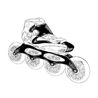 ローラースケートの黒の手描きのスケッチ