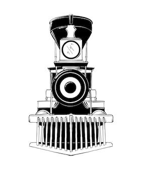 古い機関車の手描きのスケッチ