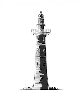 Ручной обращается гравюра эскиз маяка